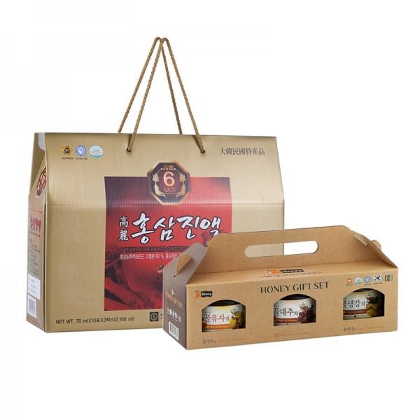 Combo 30 Gói Hồng Sâm Nước + 3 lọ mật ong Chong Kun Dang