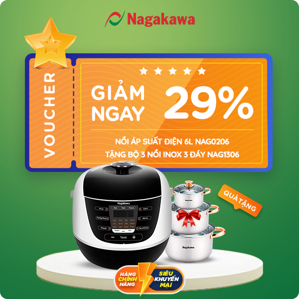 Voucher trị giá giảm 1.804.000đ khi mua Nồi áp suất điện 6L Nagakawa NAG0206 - TặngBộ 3 nồi inox 3 đáy NAG1306 tại shop.nagakawa.com.vn