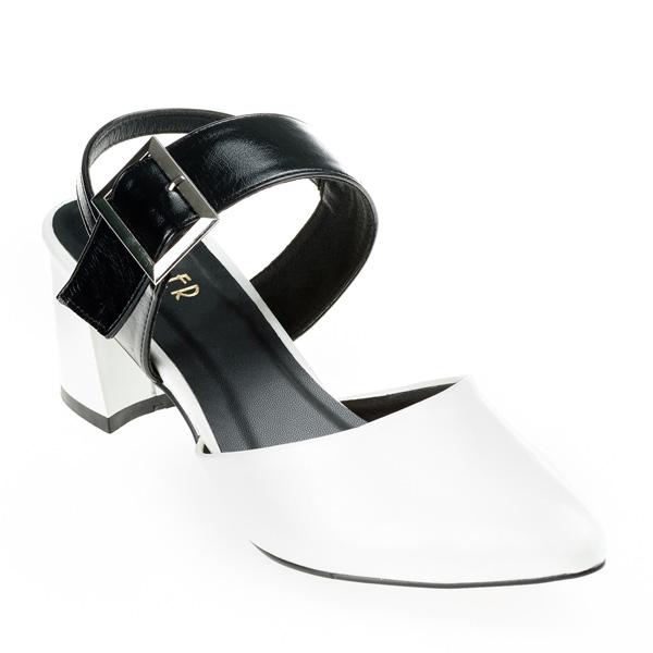 Giày cao 6cm Slingback Clover 010033 mũi trắng