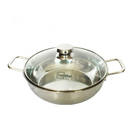Nồi Lẩu Inox 430 Fivestar 28cm nắp kính dùng bếp từ