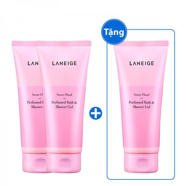 Bộ sữa tắm hương nước hoa Laneige Perfumed Bath&Shower Gel Sweet Floral 200mlx3