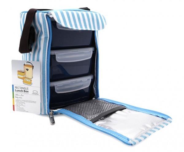 Bộ 3 hộp đựng cơm và túi giữ nhiệt Lock&Lock HAF101B3 630ml Xanh