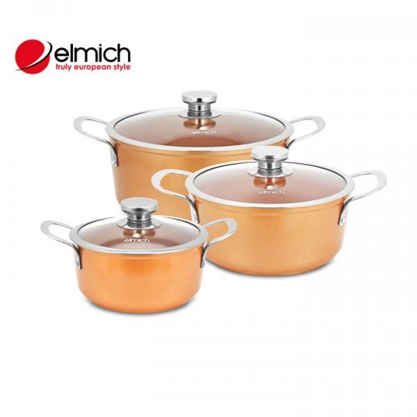 Bộ 3 Nồi Phủ Sứ Full Induction Royal Premium Elmich EL-1179 - EL-1180 - EL-1181