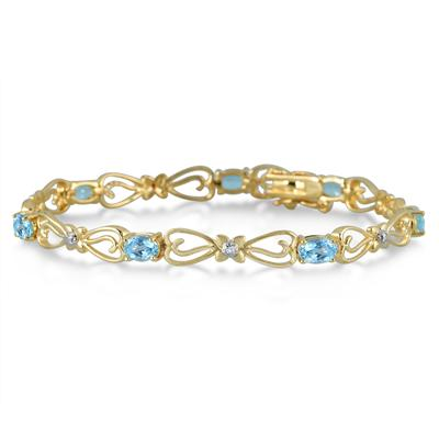 VÒNG TAY 4.00 CARAT OVAL BLUE TOPAZ AND DIAMOND BRACELET IN 18K GOLD PLATED BRASS