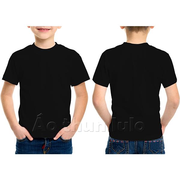 Áo thun cổ tròn trẻ em - Màu đen