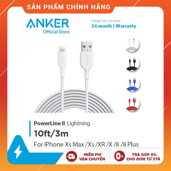 Cáp sạc ANKER Powerline II Lightning - Dài 3.0m - A8434