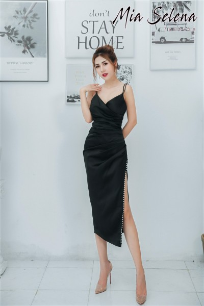 Đầm ôm body Mia Selena thiết kế hai dây kết hạt tuyệt đẹp (Đen)