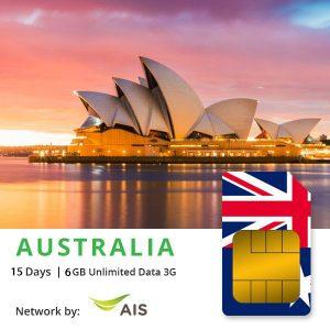 Sim du lịch Úc / New Zealand 15 ngày – 6GB 4G