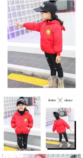 Áo phao bé gái 3 lớp hình mặt cười màu đỏ (1-6 tuổi)