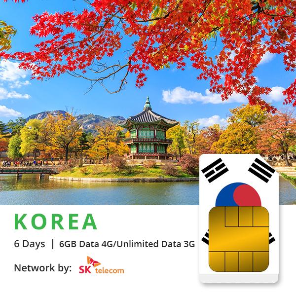 Sim du lịch Hàn Quốc 6 ngày – 6GB