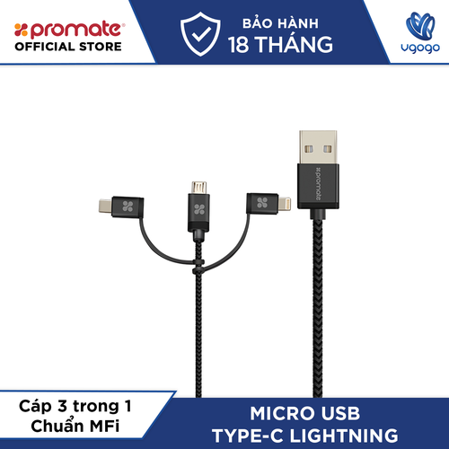 Cáp Sạc 3 Trong 1 micro USB + Type C + Lightning Promate UNILINK-TRIO.GREY Chuẩn MFi Apple Dài 1,2m- NhàPhân Phối chính hãng.