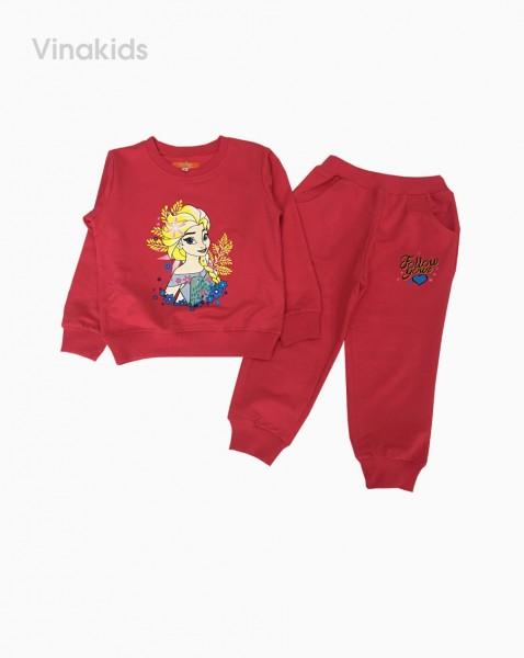 Đồ bộ bé gái dài tay họa tiết Elsa màu hồng đào (2-9 tuổi)