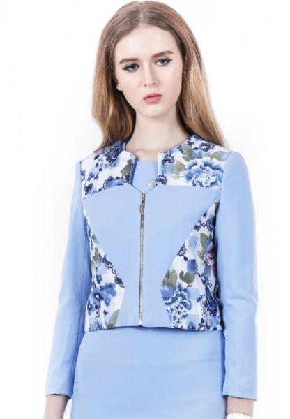 Áo Vest Suông Đắp Vải Hoa LAMER L65B16T006-S3200 (Xanh dương nhạt)