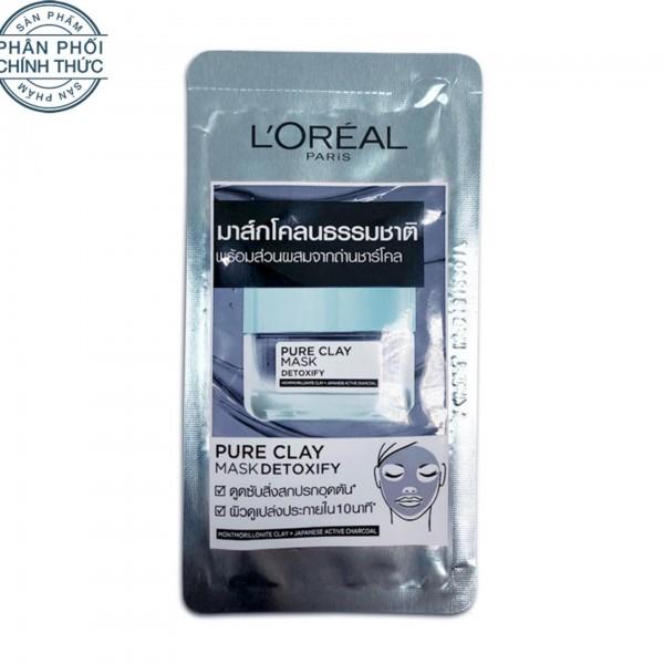 Mẫu thử - Mặt nạ đất sét thanh lọc giảm mụn đầu đen L'Oreal Paris Pure Clay mask Detoxify