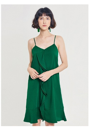 Đầm 2 Dây Bèo Đôi Giữa Thân Marc Fashion - Xanh Lá JH071018