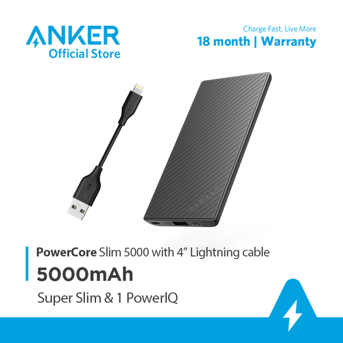 Pin sạc dự phòng ANKER PowerCore Slim 5000mAh kèm cáp Lightning dài 10cm - B1250H11