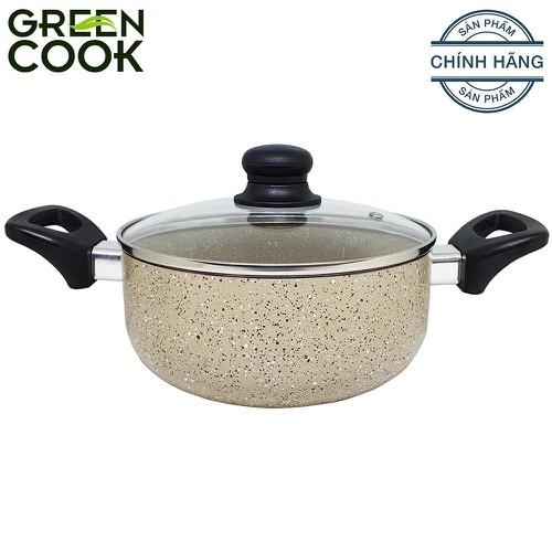 Nồi nhôm vân đá chống dính Green Cook GCS03-20 20 cm màu vàng - GCS03-20-V