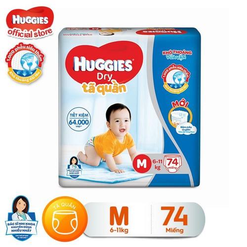 [Đủ size] Tã quần HUGGIES DRY PANTS SUPER JUMBO: M74-L68-XL62-XXL56
