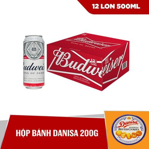 [HCM] Combo Thùng Budweiser 12 lon 500ml & Hộp bánh Danisa 200g